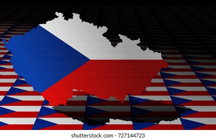 Czech flag with a contour of borders
