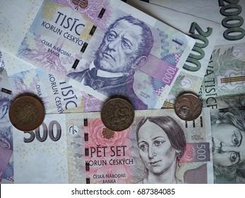 Czech Koruna banknotes and coins (CZK), currency of Czech Republic