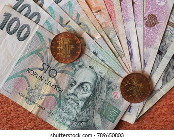 Czech Koruna banknotes and coins money (CZK), currency of Czech Republic