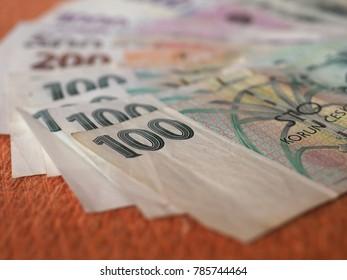 Czech Koruna banknotes money (CZK), currency of Czech Republic