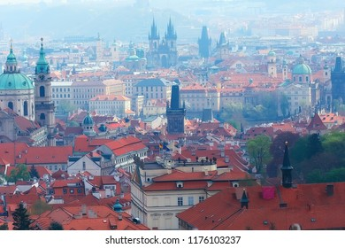 Czech krumlov landscape / travel tourism in the czech republic, panoramic view of the Czech city of Krumlov