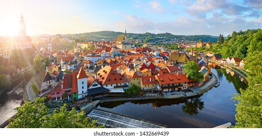 Czech Krumlov Czech Republic. View at old european town and river Vltava. Travel and landmark panorama.