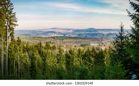 Czech landscape view with forests and meadows
