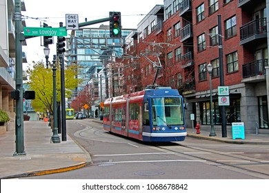 Czech made Skoda tram in Pearl District, Portland USA on April 2, 2018