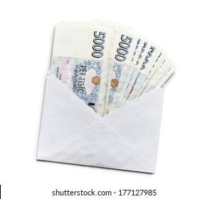czech money in envelope on white background