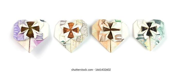 Czech money folded in heart shape isolated, finance with Czech crown currency