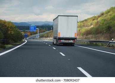 Czech motorway with neutral lorry (without logos and car numbers)