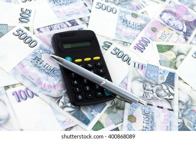 Czech paper money and accounting on white background