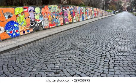 CZECH ,PRAGUE â??MARCH 7: Graffiti wall on March 7 2015 in Prague,Czech Republic.