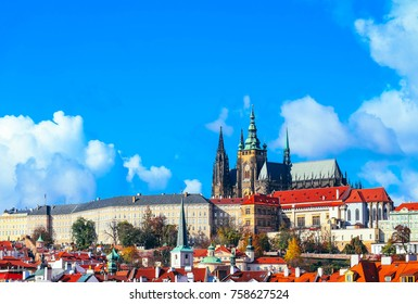 Czech, Prague Castle, St. Vitus Cathedral gothic building architecture. Prague city landscape view, sunny day.