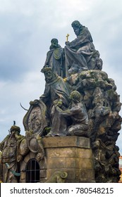 Czech, Prague, gothic sculpture of the Cyril and Methodius on the Charles bridge. Prague, medieval art, statue of Saint on the bridge of King Charles.