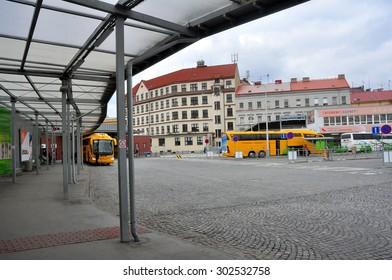 CZECH PRAGUE MARCH 7: Bus station on March 7 2015 in Prague,Czech Republic.