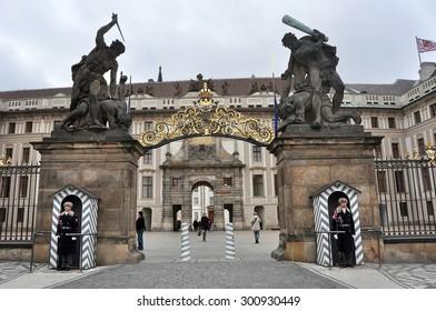 CZECH PRAGUE MARCH 7: The guardians in Prague castle on March 7 2015 in Prague,Czech Republic.