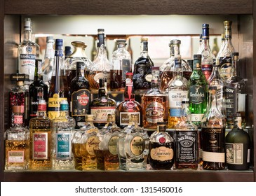 Czech republic, 02.17.2019, bar with many bottles of rum whiskey gin and other alcohol, havana club, aniversary, Jack Daniels, Zacapa, Metaxa, Olmeca, Jameson, Rudolf Jelínek, Williams, Glenfiddich,