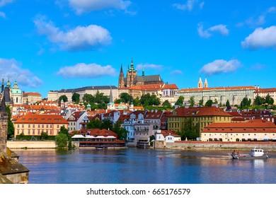 Czech Republic. 7 June, 2017. Prague Castle. St. Vitus Cathedral. The Vltava River. Beautiful views.