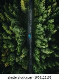 Šumava, Czech Republic - 9.28.2019: Photo of road with car from drone