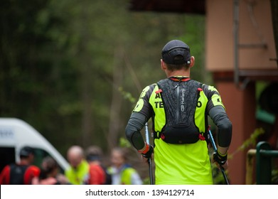 Czech Republic, Beskydy: May 2019. Perun Sky Marathon. Runner approaching refreshment station.
