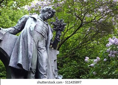 Czech Republic, bronze monument of the poet Karel Hynek Macha on the Petrin hill, Prague,