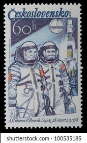 CZECH REPUBLIC - CIRCA 1980: A post stamp printed in Czechoslovakia shows spaceship , circa 1980