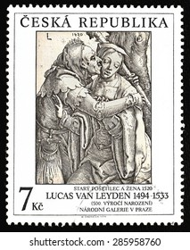 CZECH REPUBLIC - CIRCA 1994: The stamp printed in The Czech republic showing art of Lucas van Leyden (1494 - 1533) An Old Fool And A Woman - created in 1520; value 7 czech crowns; Prague circa 1994