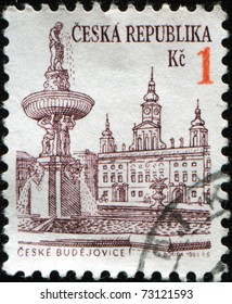 CZECH REPUBLIC - CIRCA 1995: A stamp printed in Czech Republic shows view of Ceske Budejovice's town square, circa 1995