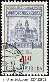 CZECH REPUBLIC - CIRCA 1999: A stamp printed in Czech Republic shows image of Prague in 1929, circa 1999