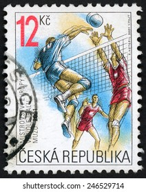 CZECH REPUBLIC - CIRCA 2001: stamp printed in Ceska shows male volleyball player jumping to spike ball over net, European men�s volleyball Championships Ostrava; Scott 3145 A1193 12k, circa 2001