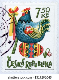 CZECH REPUBLIC - CIRCA 2006: post stamp printed in Czechoslovakia (Ceska) shows hen sitting on egg, pussy willow whip; Easter; festival of spring; Scott 3304 A1288 7.50k; circa 2006