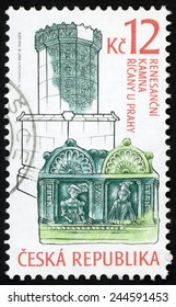 CZECH REPUBLIC - CIRCA 2007: stamp printed in Ceska shows renaissance era stove and decorated tile with noble woman & man, Ricany u Prahy; historic stoves; Scott 3350 A1317 green blue 12k, circa 2007
