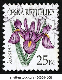CZECH REPUBLIC - CIRCA 2010: post stamp printed in Czechoslovakia (Ceska) shows illustration of purple iris (kosatec) flower on white; Scott 3466 25k, circa 2010