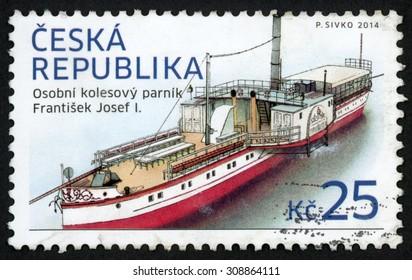 CZECH REPUBLIC - CIRCA 2014: post stamp printed in Czechoslovakia (Ceska) shows passenger (saloon) six paddle steamboat; Franz Joseph I; historical vehicles; 25k, circa 2014