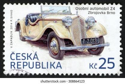 CZECH REPUBLIC - CIRCA 2014: post stamp printed in Czechoslovakia (Ceska) shows Z4 automobile (Zbrojovka Brno); historical vehicles; 25k, circa 2014