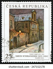 CZECH REPUBLIC - CIRCA 2014: stamp printed in Ceska (Czechoslovakia) shows painting Ulice v zime 1900-1910 (Street in winter) from Jakub Schikaneder (1855-1924); galerie Kodl; 25k; circa 2014