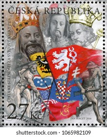 CZECH REPUBLIC - CIRCA 2016: post stamp printed in Ceska shows important historical persons St. Wenceslas, Premysl II Ottokar, Charles IV, soldiers, flags; 1916 fight for Czech Statehood; circa 2016
