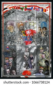 CZECH REPUBLIC - CIRCA 2016: stamp printed in Ceska shows important historical, political persons, mother, two kids; people fighting in war, flags; 1916 fight for Czech Statehood; circa 2016