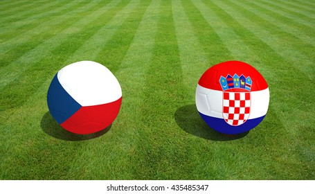 Czech Republic / Croatia soccer game on grass soccer field 3d Rendering.