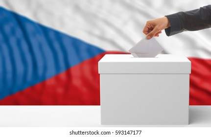 Czech Republic elections. Voter on an waiving Czech Republic flag background. 3d illustration