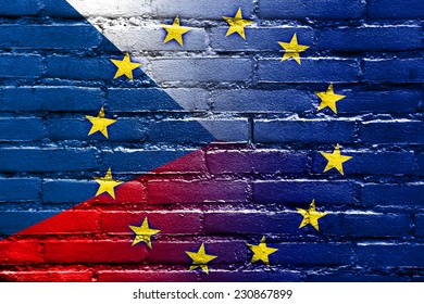 Czech Republic and European Union Flag painted on brick wall