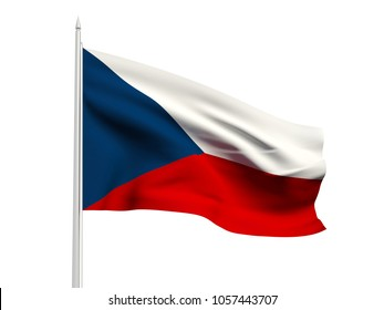 Czech Republic flag floating in the wind with a White sky background. 3D illustration.