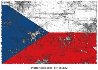 Czech Republic flag grunge background. Background for design in country flag