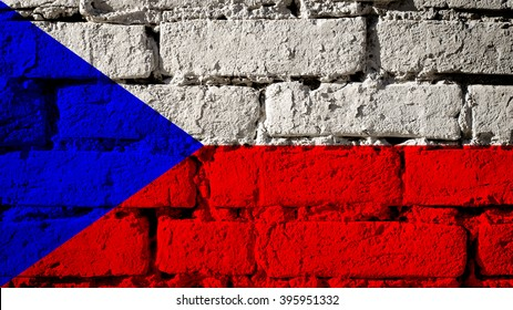 Czech Republic flag on a brick wall