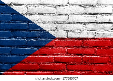 Czech Republic Flag painted on brick wall