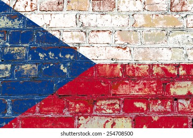 Czech Republic flag painted on old brick wall texture background