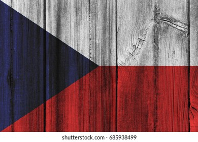 The Czech Republic  flag painted on wooden wall for background.