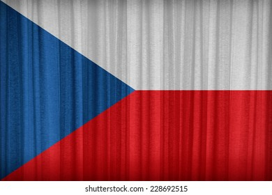 Czech Republic flag pattern on the fabric curtain,vintage style