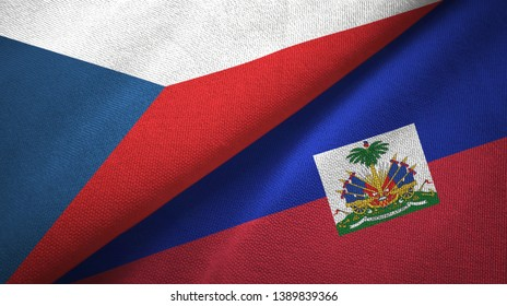 Czech Republic and Haiti two flags textile cloth, fabric texture