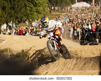 CZECH REPUBLIC, JABLONEC NAD NISOU - JULY 25, 2015 - JBC 4X Revelations: Fourcross biker race. Winner - Tomas Slavik on the final round.