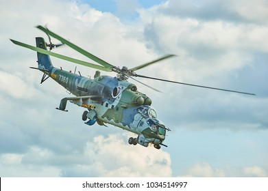 CZECH REPUBLIC - JULY 19, 2011: Military helicopter Mi-24/35 flying during exercise