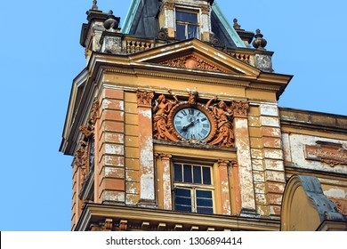 Domažlice/ Czech Republic - June 23 2015: Turret clock of the town hall