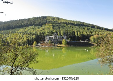 CZECH REPUBLIC, KARLOVY VARY, BREZOVA, OCTOBER 05, 2018:  Hotel Retro Riverside is located at the river Tepla near the water dam.